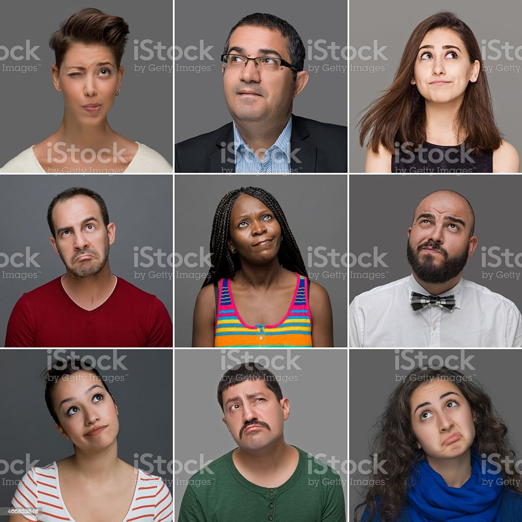 Thoughtful facial expressions of nine different people stock photo