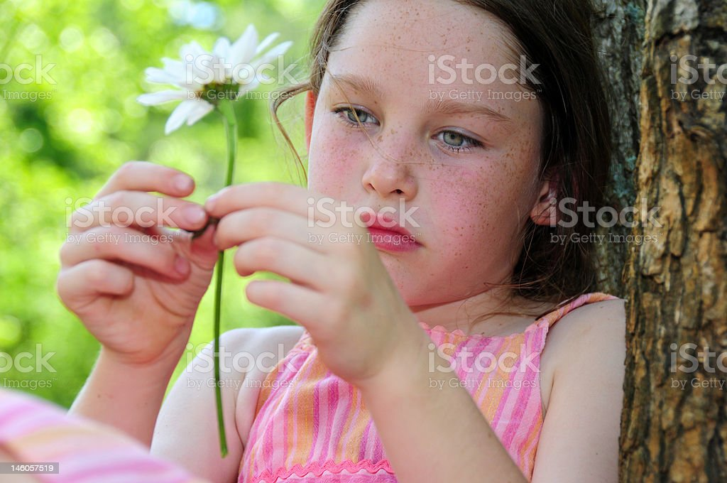 Thoughtful Girl Outdoors royalty-free stock photo