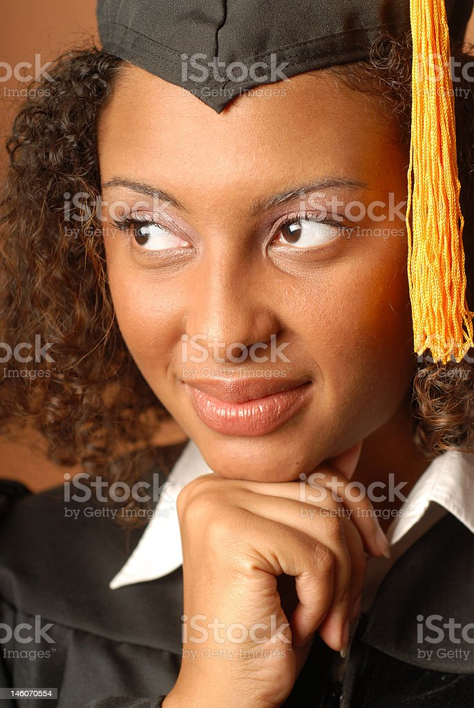 Thoughtful graduate royalty-free stock photo