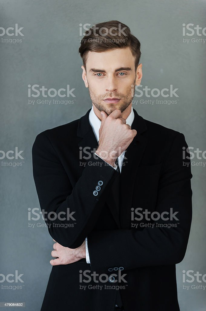 Thoughtful handsome. stock photo