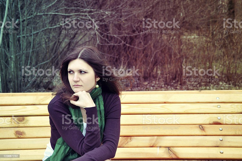 thoughtful lady stock photo