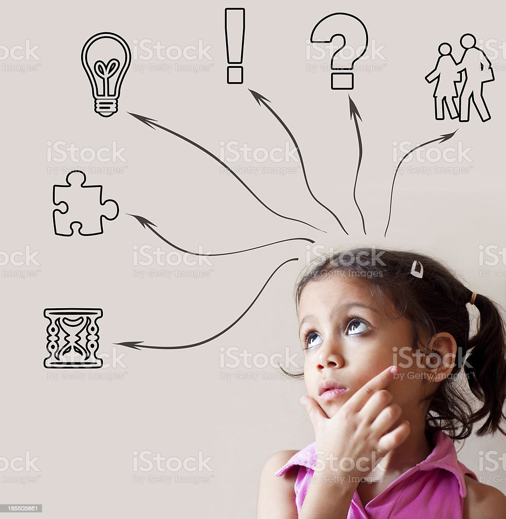 Thoughtful little girl looking up royalty-free stock photo