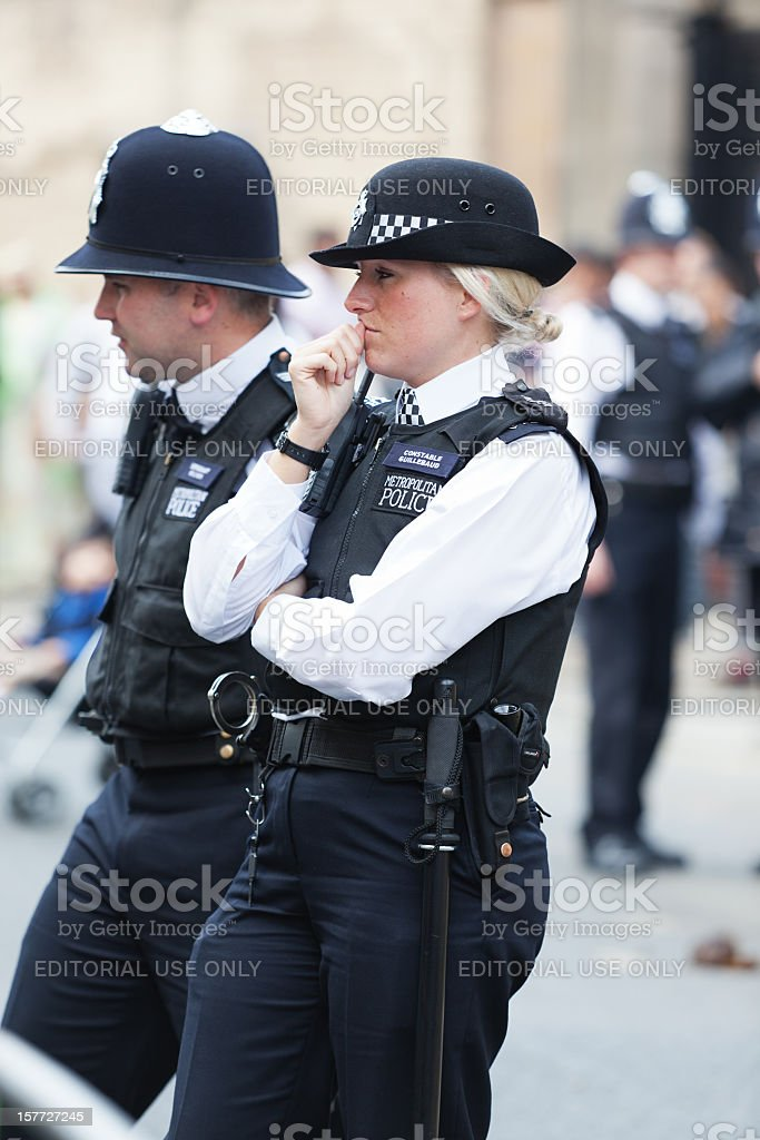 Thoughtful London Metropolitan Police Officer stock photo