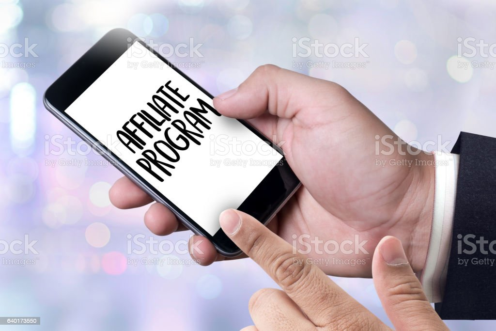 AFFILIATE PROGRAM Thoughtful male person looking to the digital stock photo