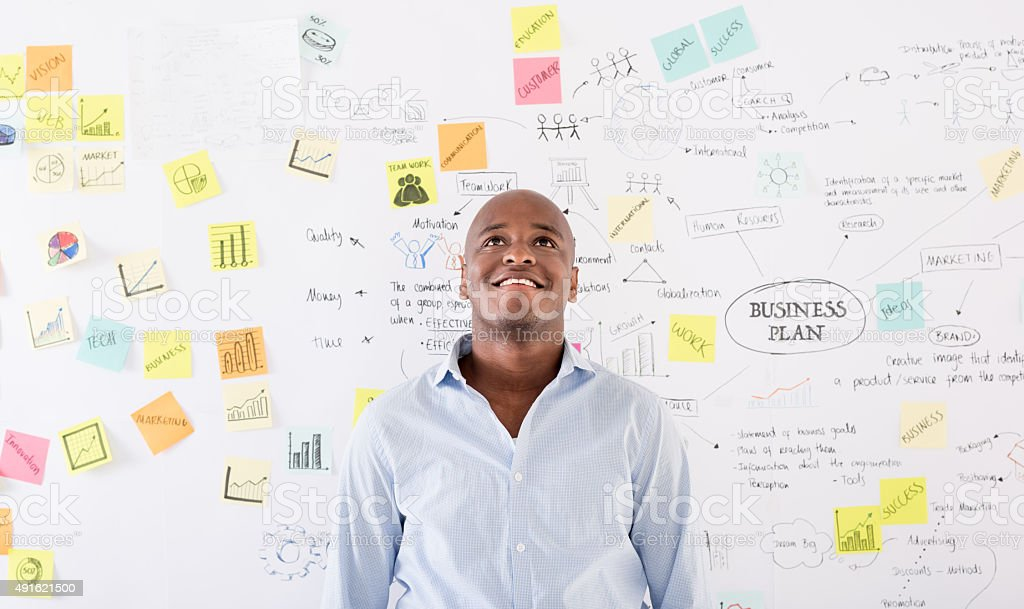 Thoughtful man thinking about a business plan stock photo