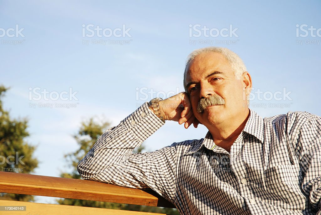 Thoughtful mature adult royalty-free stock photo