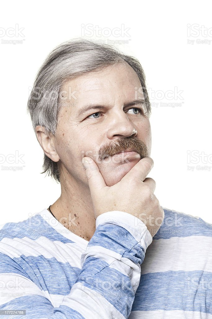 thoughtful mature caucasian man isolated on white background royalty-free stock photo