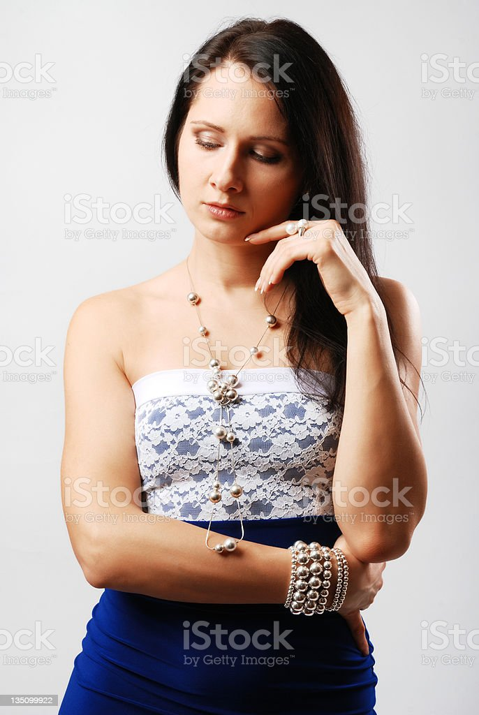Thoughtful pretty woman. stock photo