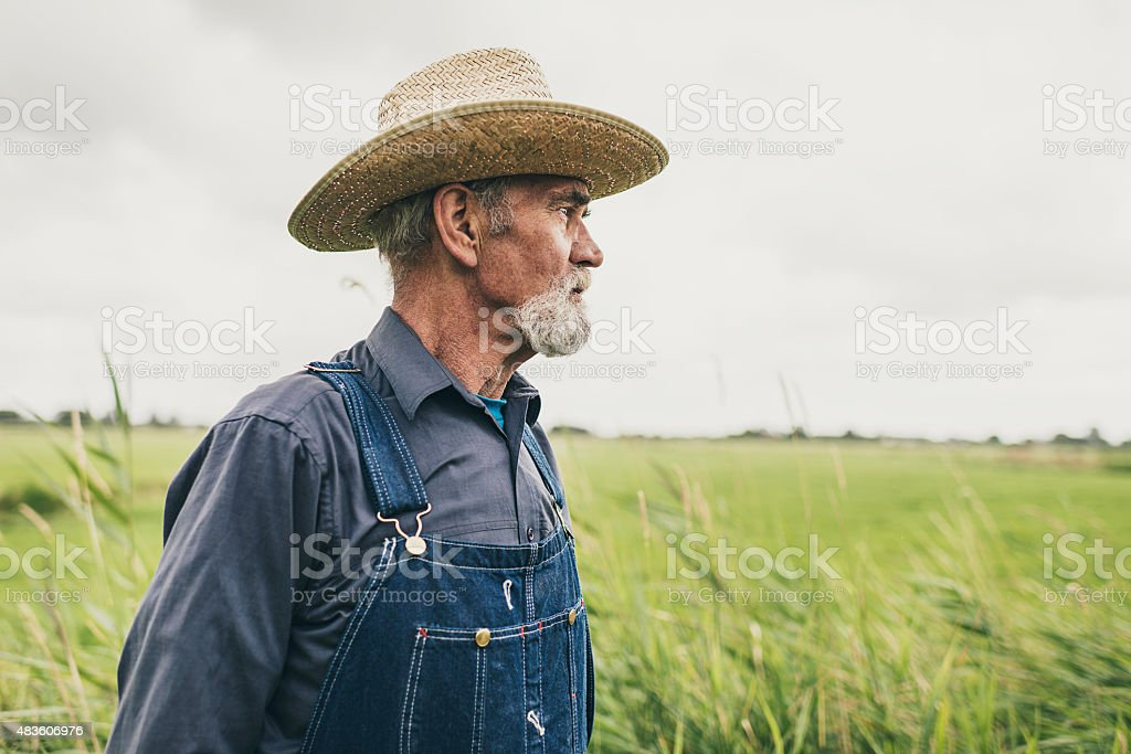 Thoughtful Senior Male Farmer with Straw Hat stock photo