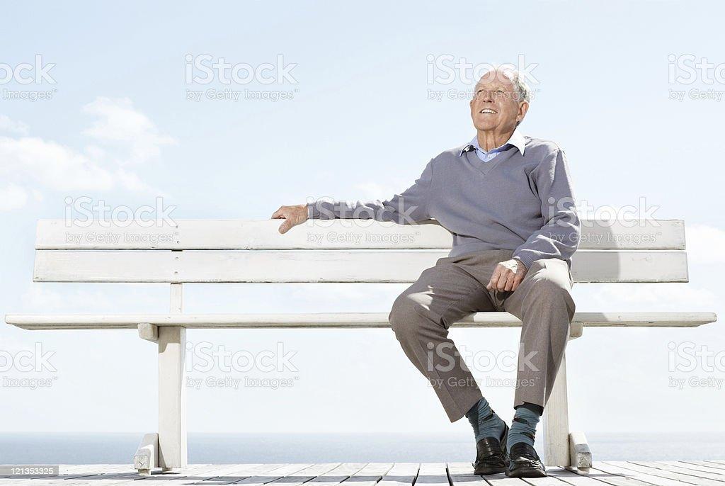 Thoughtful senior man looking away - Outdoor royalty-free stock photo