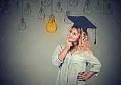 Thoughtful student in cap gown looking up at light bulb