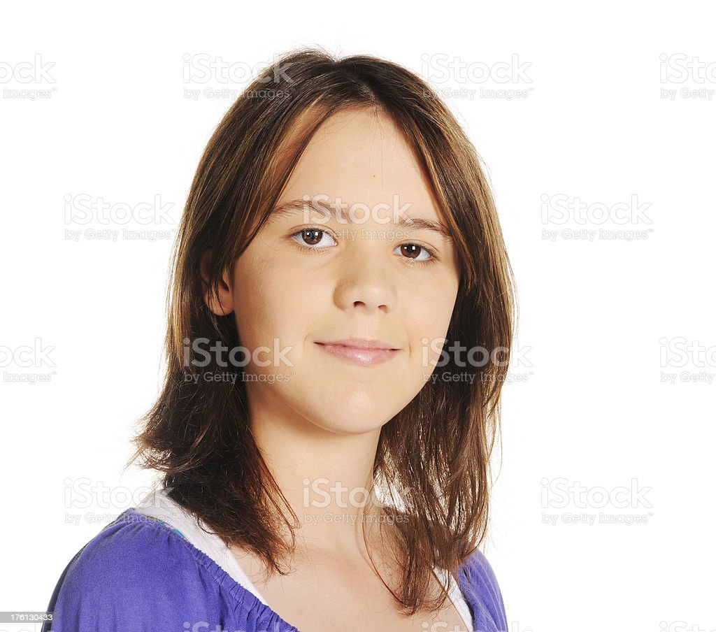 Thoughtful Teen Girl Head Shot royalty-free stock photo