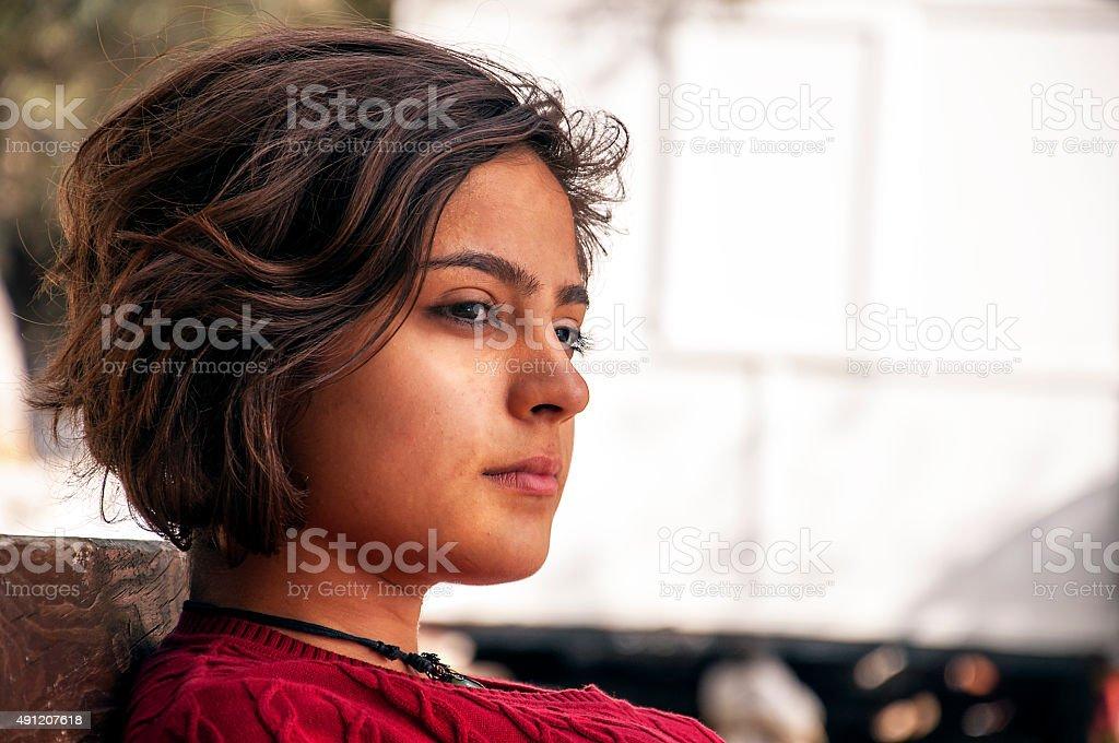 thoughtful  teenage girl stock photo
