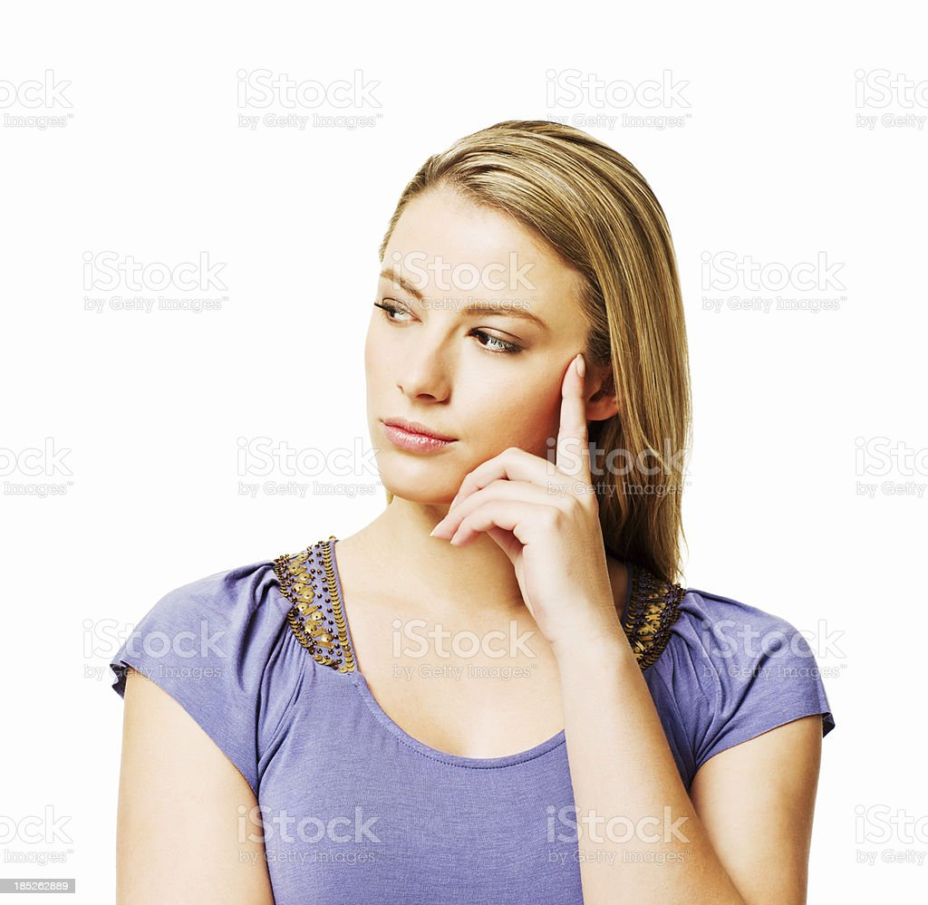 Thoughtful Woman - Isolated stock photo