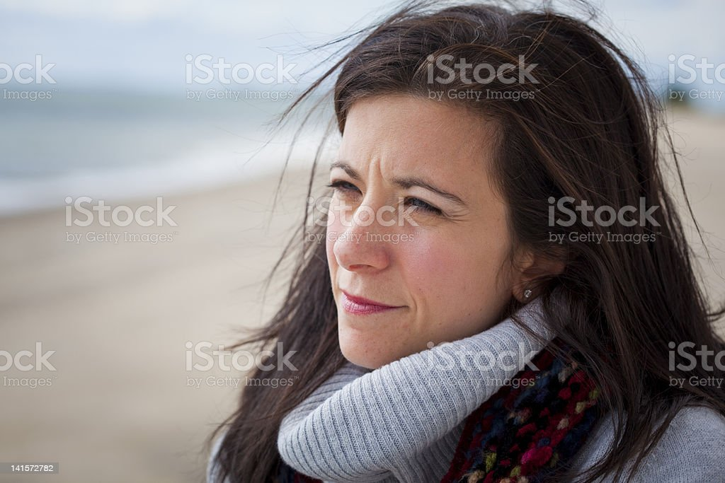 Thoughtful woman stock photo