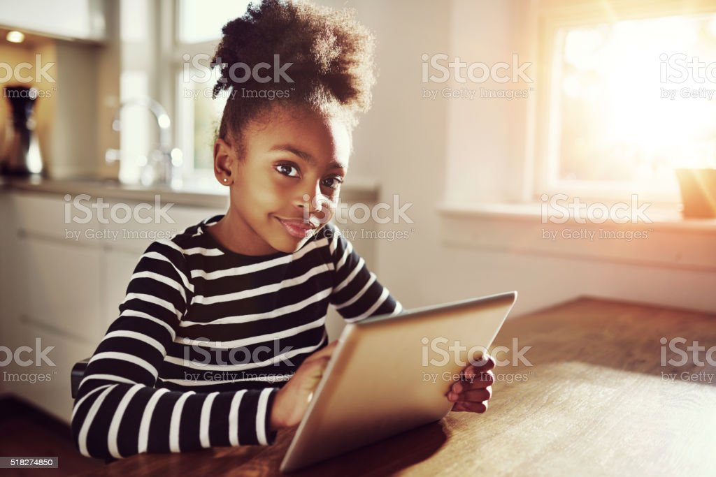 Thoughtful young black girl stock photo