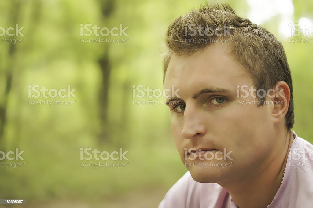 Thoughtful young man Outdoors royalty-free stock photo