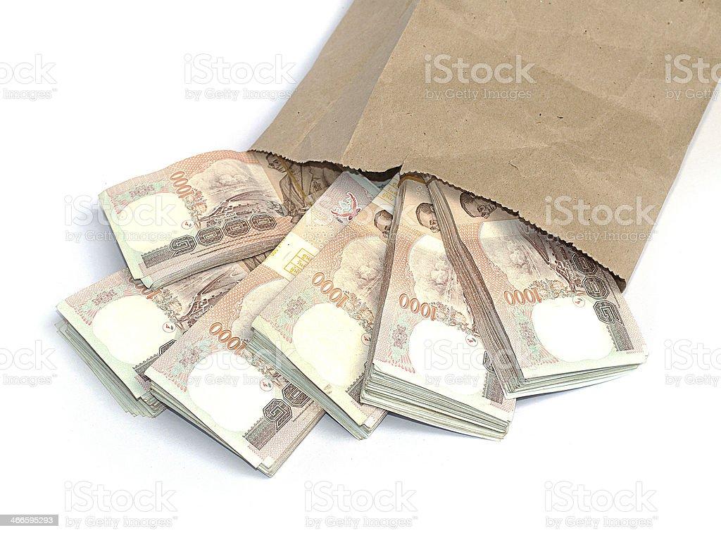 Thousand baht banknotes stock photo