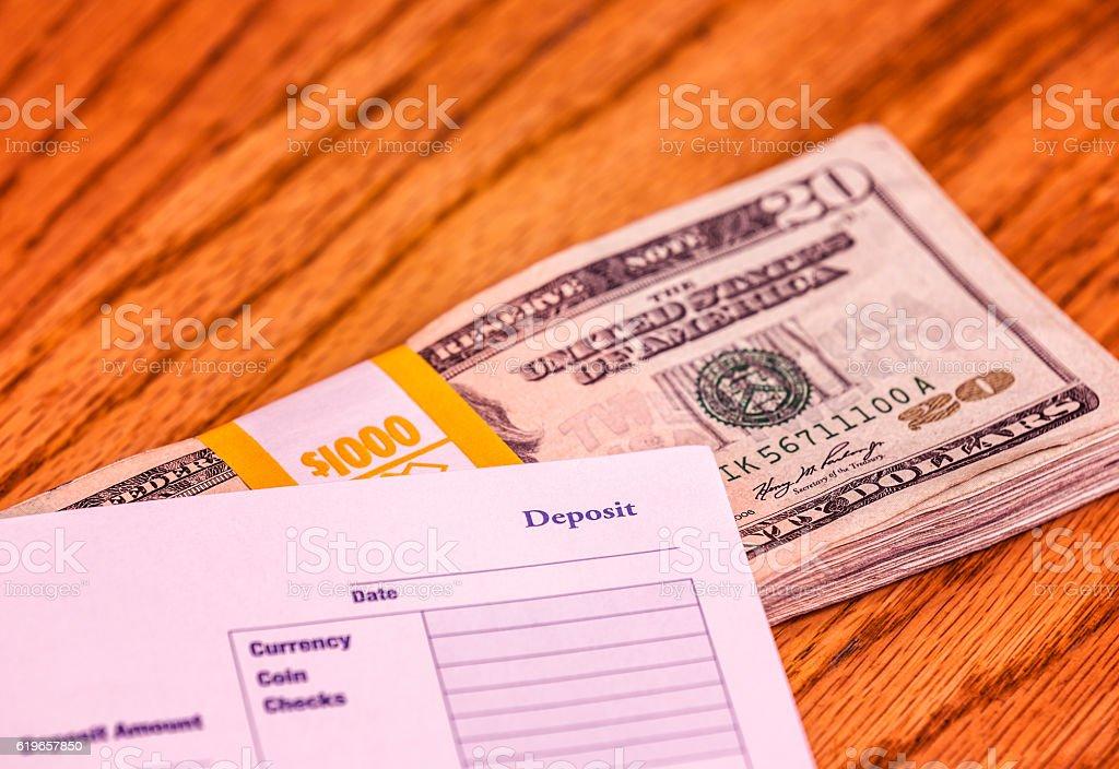 Thousand Dollar Stack of USA Twenty Dollar Bills For Deposit stock photo