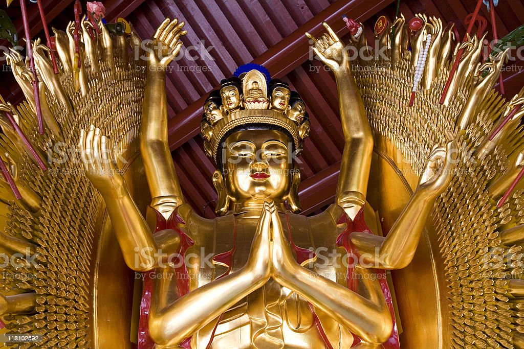 Thousand Hands Golden Buddha 1 stock photo