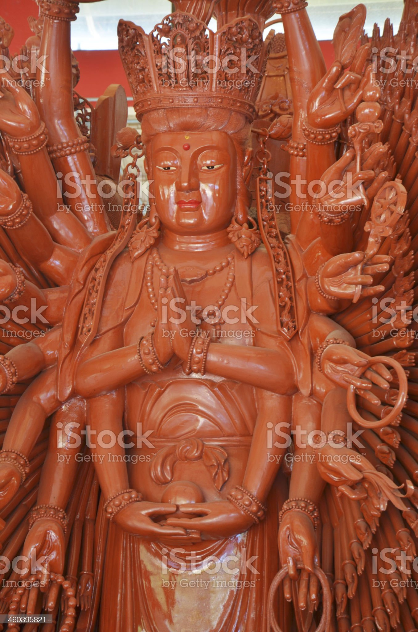 Thousand hands wooden Guanyin in Chinese temple,Thailand royalty-free stock photo