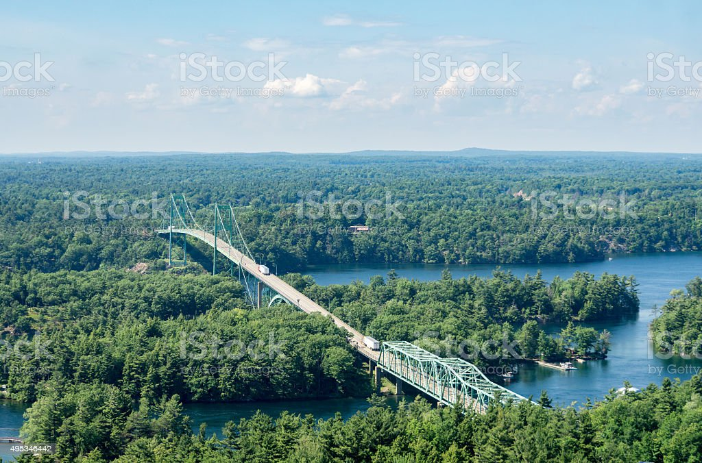 Thousand Islands Bridge with Trucks stock photo
