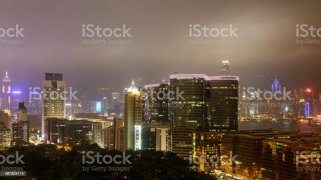 Thousand of skyscraper on two side of Victoria Harbour of Hong Kong. royalty-free stock photo