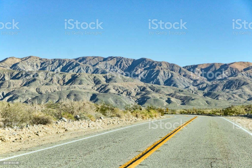 Thousand Palms Canyon Road Near Palm Desert stock photo