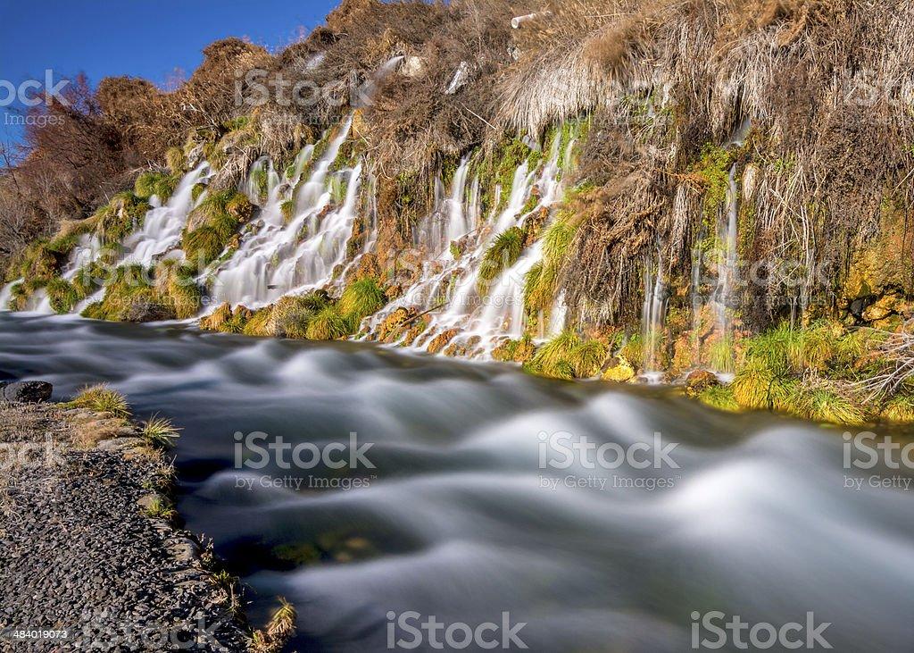 Thousand springs Idaho mini waterfalls stock photo
