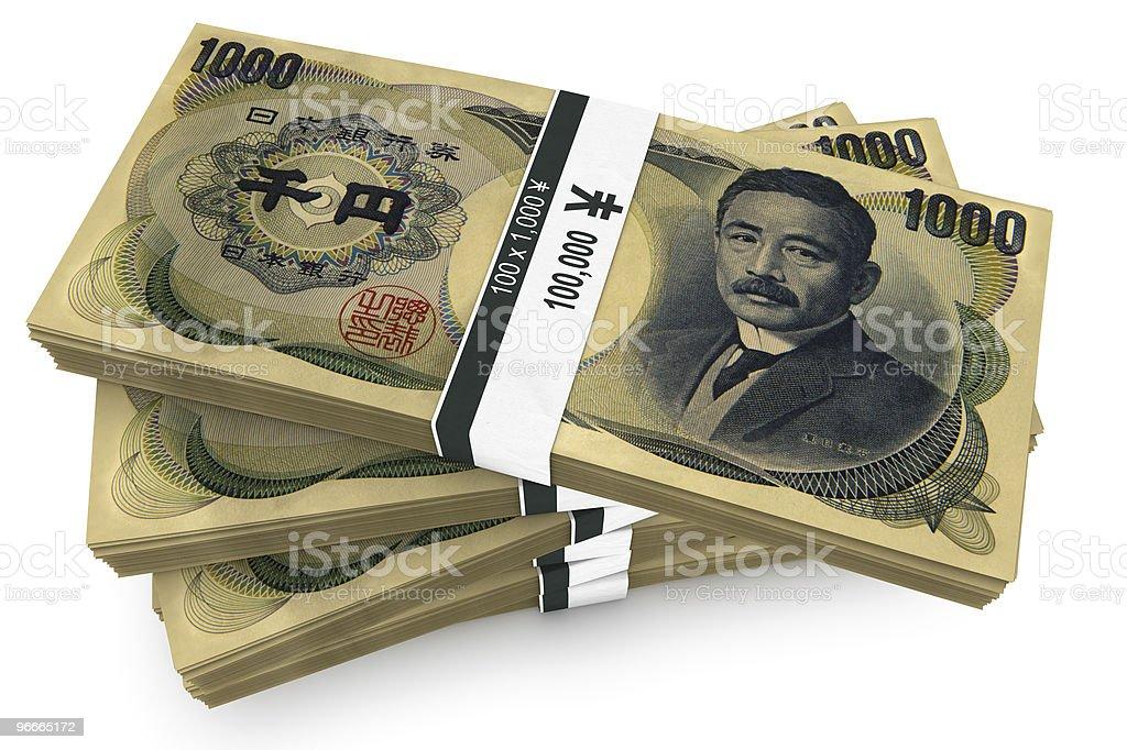 Thousand Yen Bundles stock photo