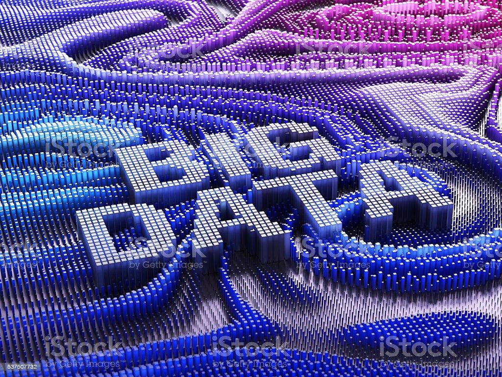 Thousands bar graphs forming words big data. Big data concept. 3D illustration stock photo