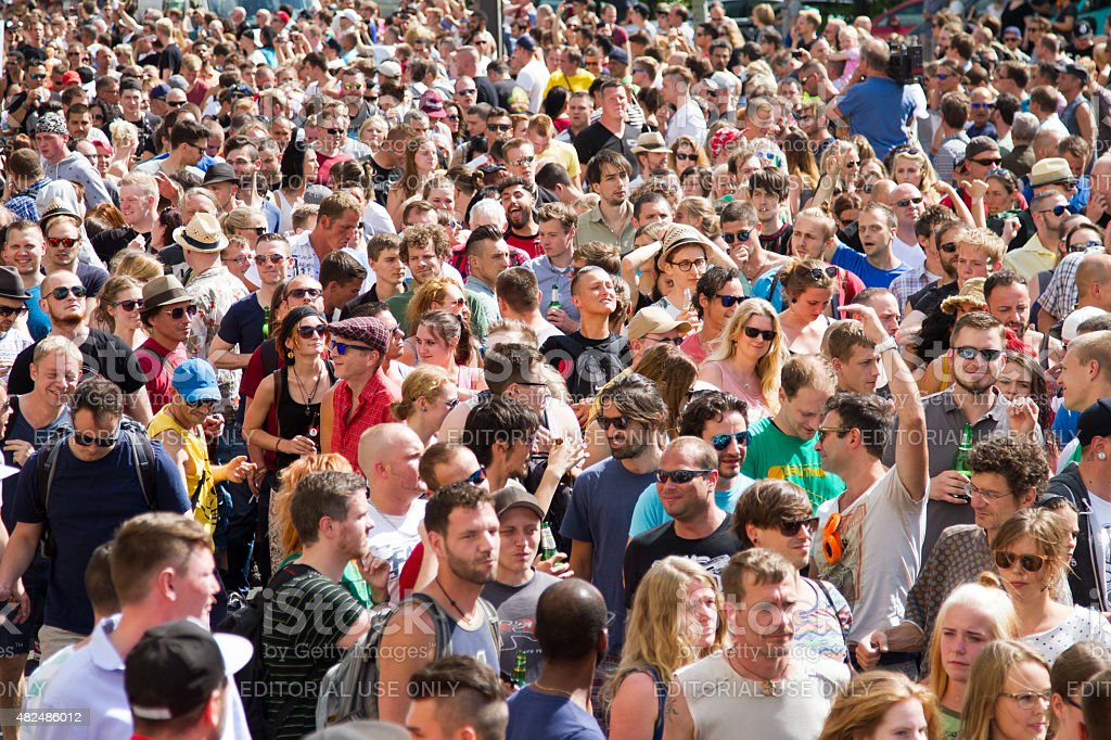 Thousands celebrate the 'Train of Love' techno parade in Berlin stock photo