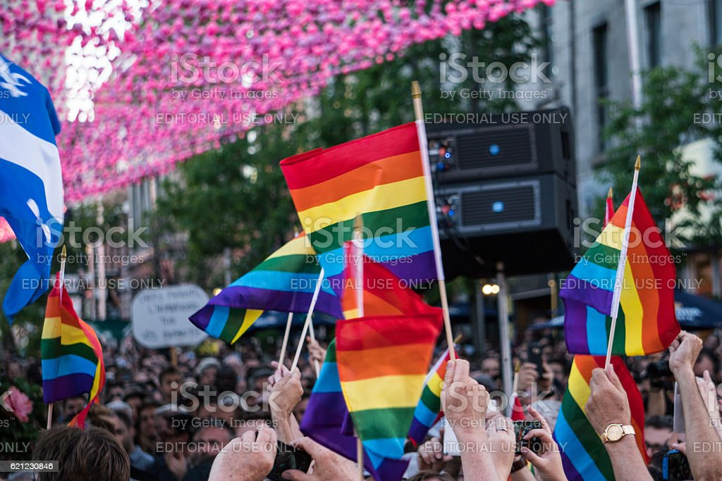 Thousands gathered at Montreal vigil for Orlando victims stock photo