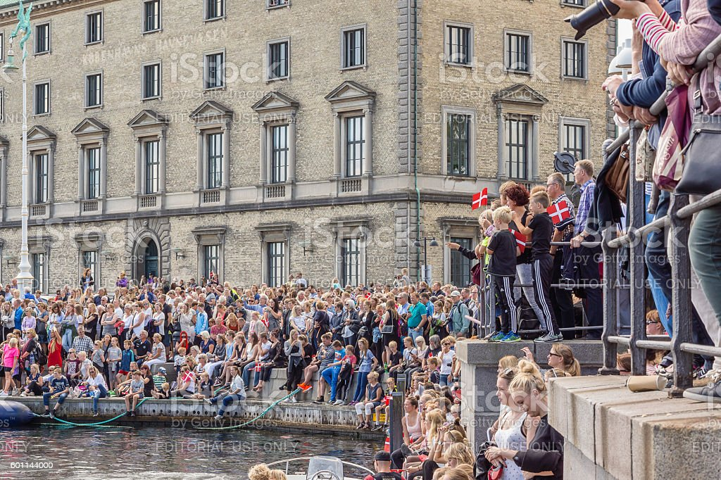 Thousands greeting popular danish sailing boat stock photo