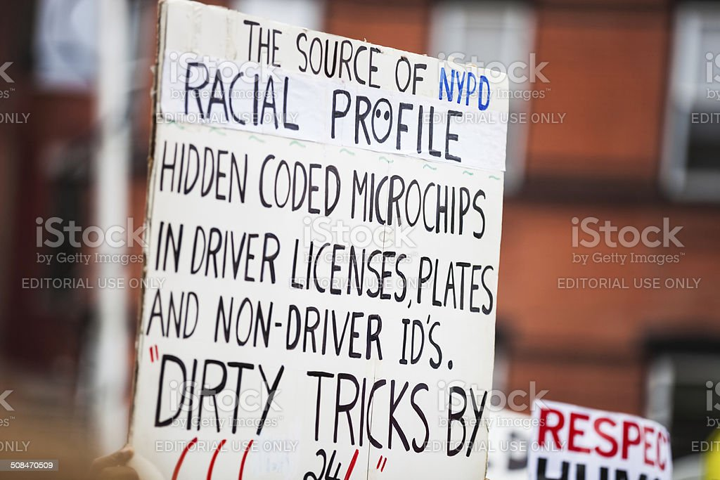 Thousands of people protest against NYPD in August 2014 royalty-free stock photo