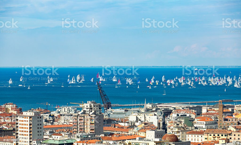 Thousands of sails racing during the Barcolana regatta stock photo