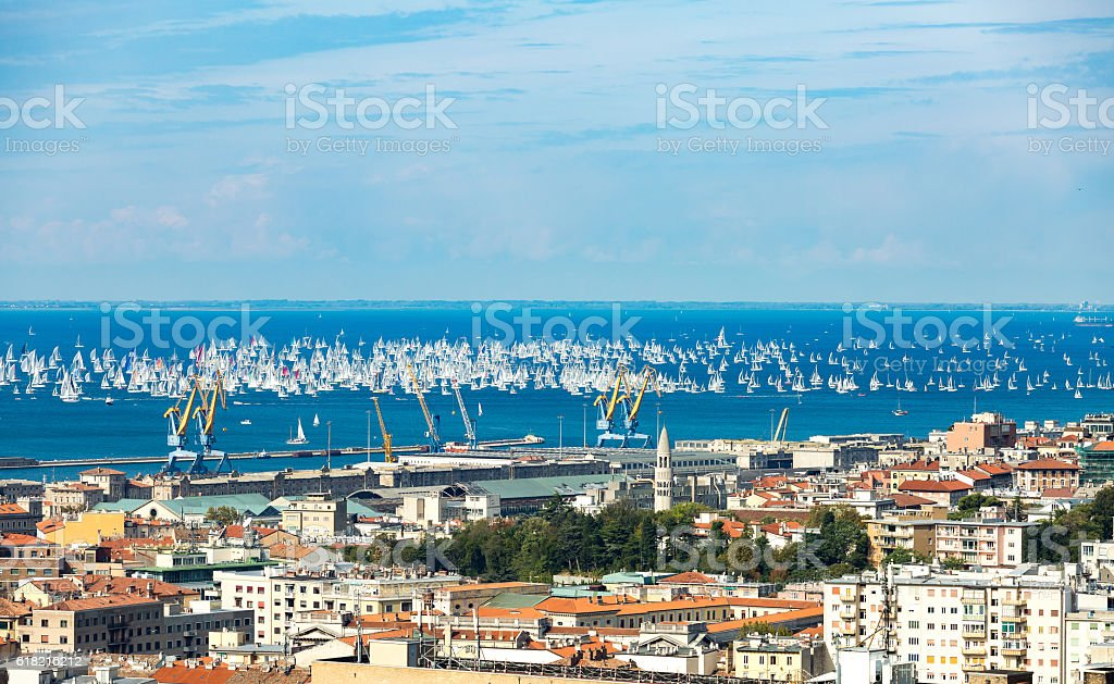 Thousands of sails racing stock photo