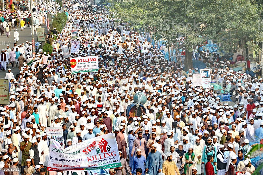 Thousands protest in Bangladesh at atrocities on Rohingyas in Myanmar stock photo