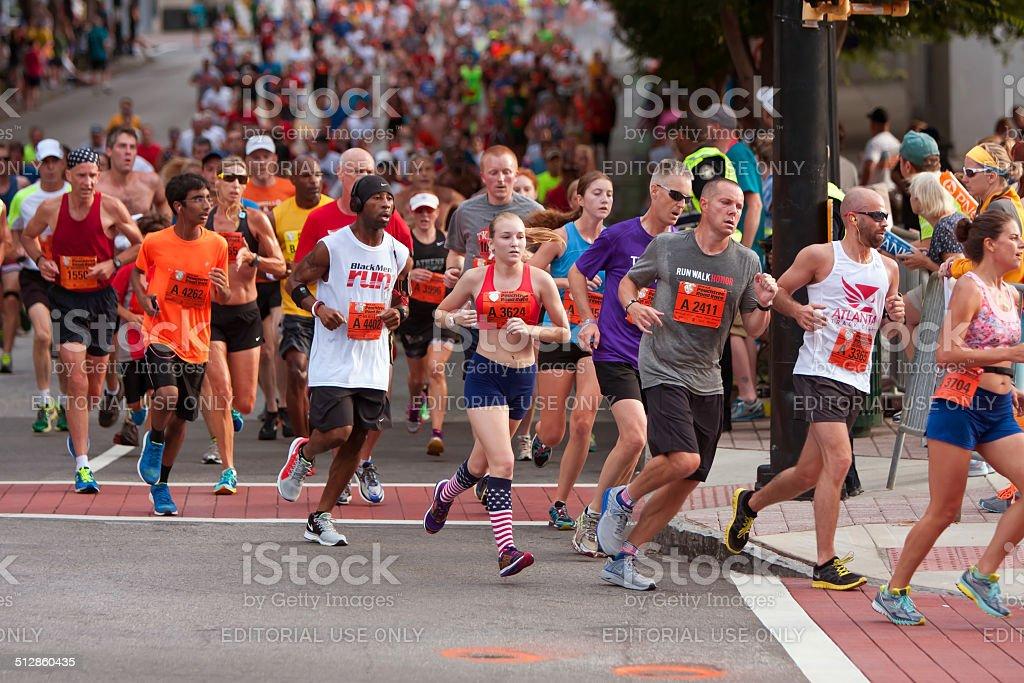 Thousands Run In Atlanta Peachtree Road Race stock photo