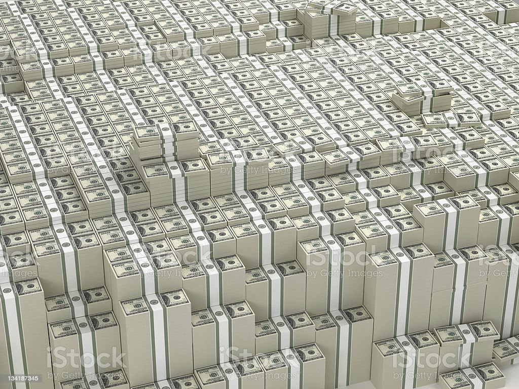 Thousands stacks of money stock photo