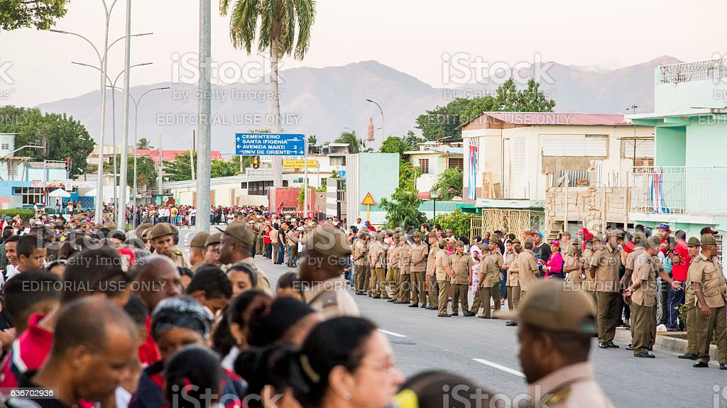 Thousands wait on the road for last goodbye to Castro stock photo