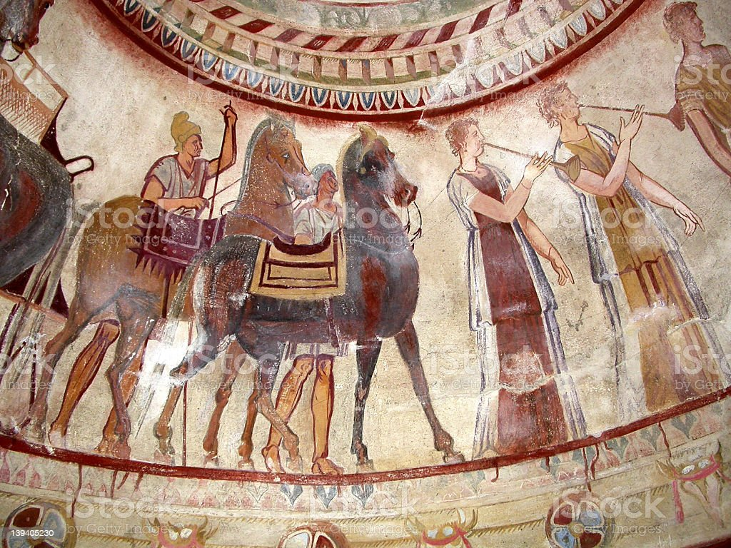 Thracian tomb frescoes stock photo