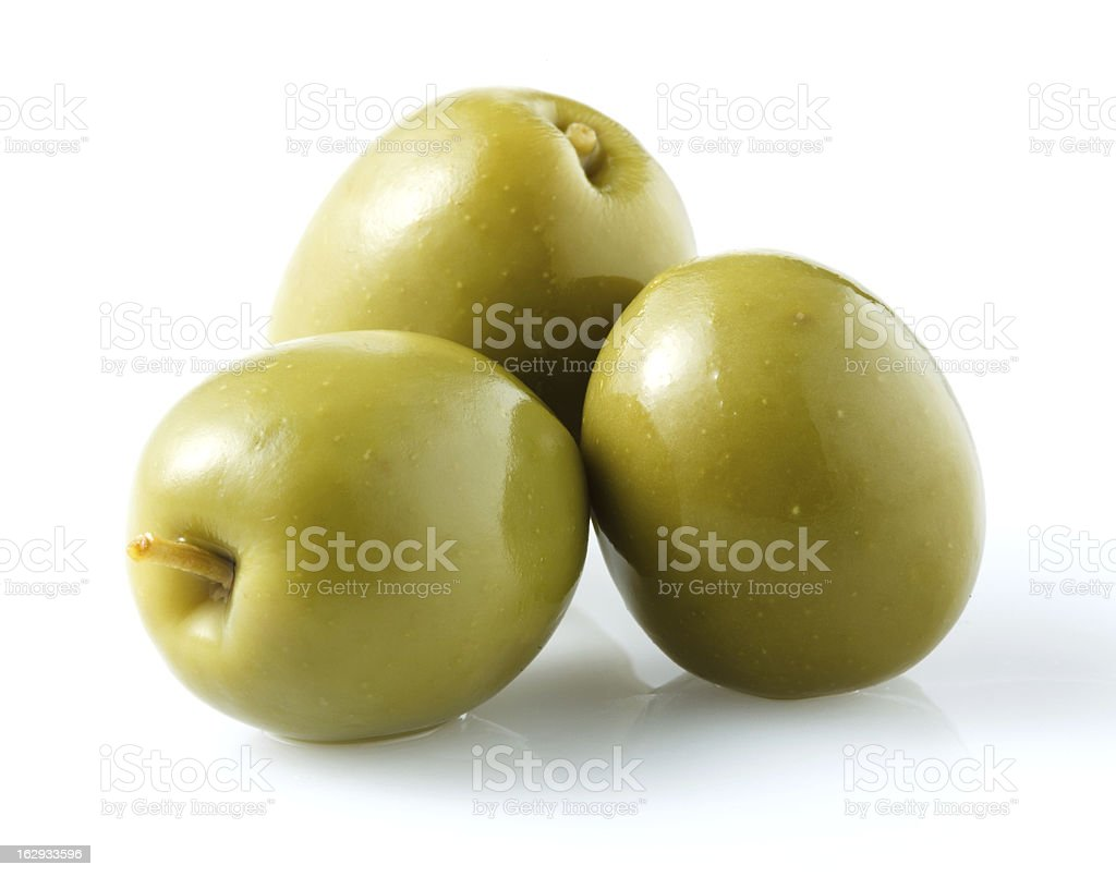 thre green olives isolated on white stock photo