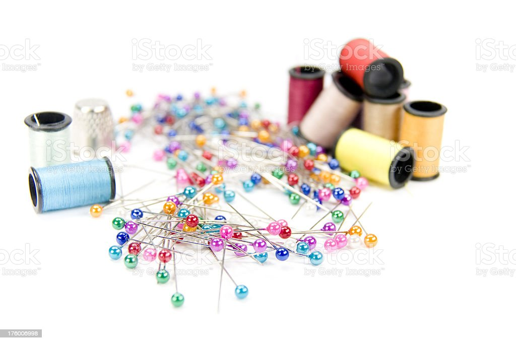 thread and pins royalty-free stock photo