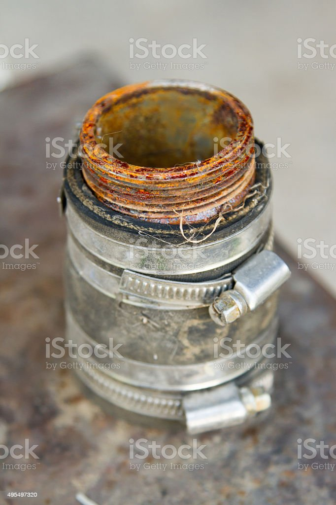 thread on the pipe stock photo