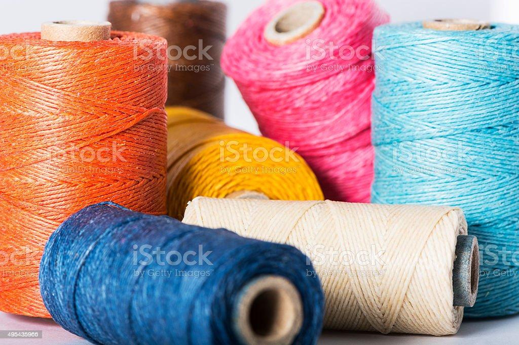 Thread Spools - multi coloured stock photo