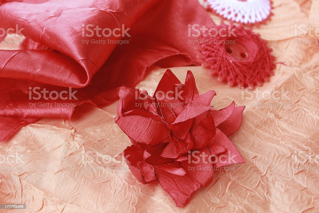 Threads and red flower royalty-free stock photo