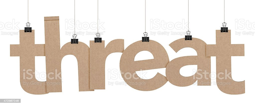 threat word hanging on strings stock photo