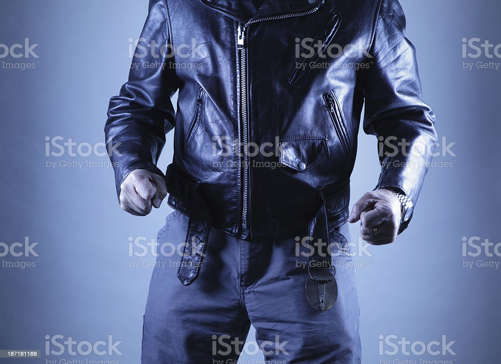 Threatening male in blue night shadows royalty-free stock photo