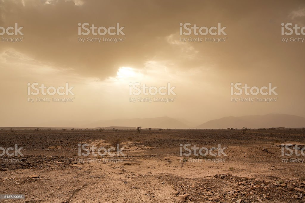 Threatening sky and wind in the desert of Sahara, Morocco stock photo